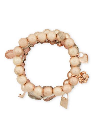 Set of 5 Beaded Charm Bracelets,ROSE,large