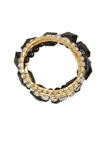 Set of 5 Crystal and Rhinestone Stretch Bracelets,GOLD,large