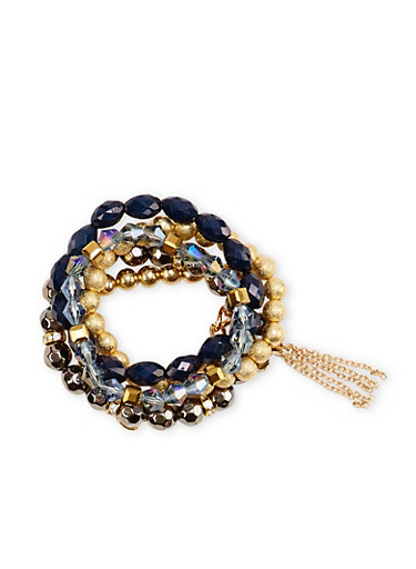 Set of 5 Stretch Bracelets with Chain Tassel,BLUE,large