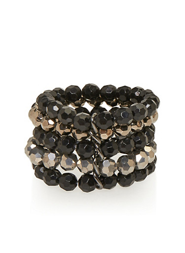 Layered Beaded Stretch Bracelet,JET,large