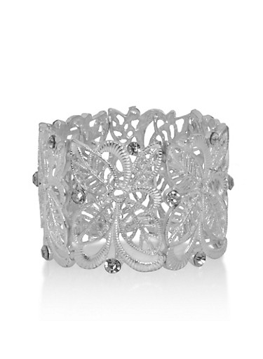 Metal Cut Out Stretch Bracelet with Rhinestone Accents,SILVER,large