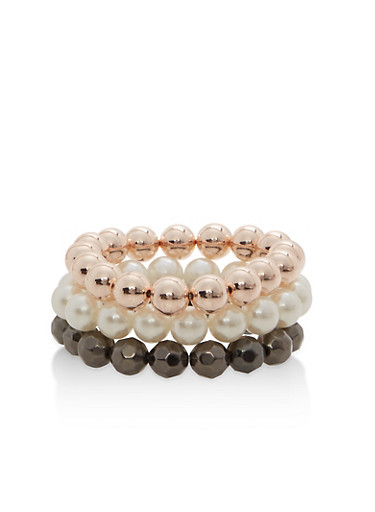 Trio of Beaded Stretch Bracelets,IVORY,large