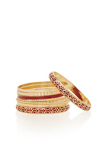 Plus Size Set of 9 Bangle Bracelets,WINE,large