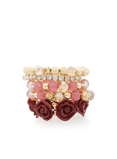 Set of 5 Assorted Stretch Bracelets,GOLD,large