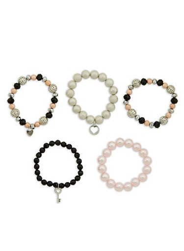 Set of 5 Beaded Stretch Bracelets,SILVER,large