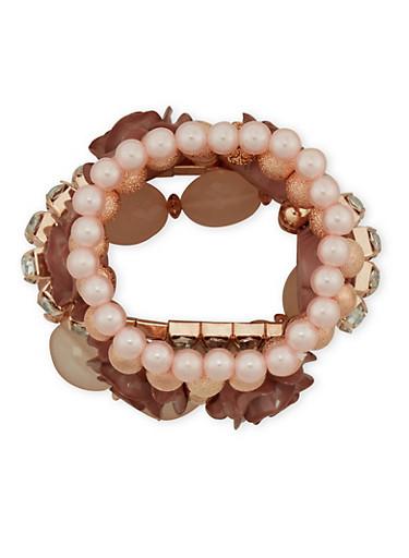Set of 5 Assorted Rhinestone Beaded Bracelets,MAUVE,large