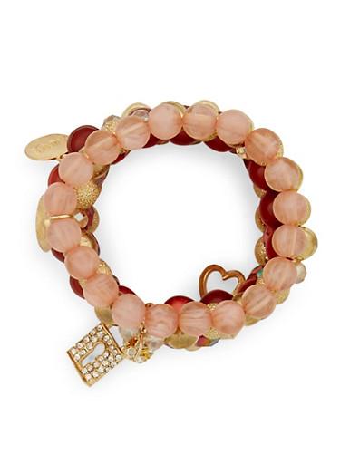 Set of 5 Beaded Rhinestone Charm Bracelets,WINE,large