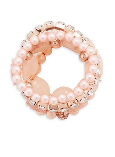Set of 5 Assorted Rose Stretch Bracelets,BLUSH,large