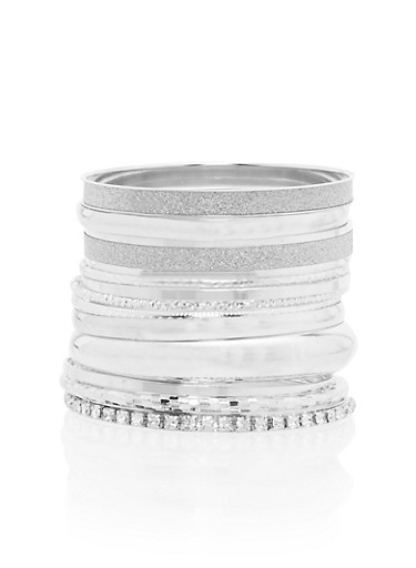 Set of Multi Textured Bangles,SILVER,large