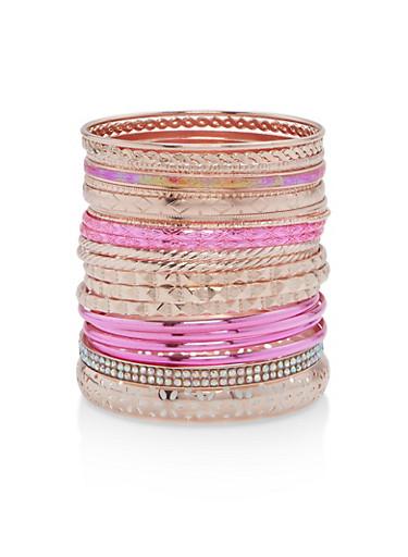 Metallic Multi Color Set of Bangles,ROSE,large