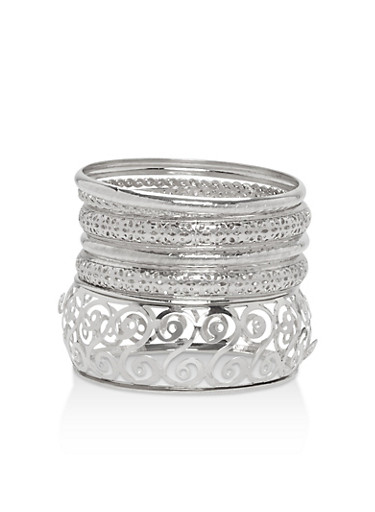 Plus Size Assorted Metallic Bangles,SILVER,large