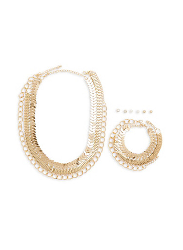 Set of Metallic Chain Necklace Bracelet and Earrings,GOLD,large