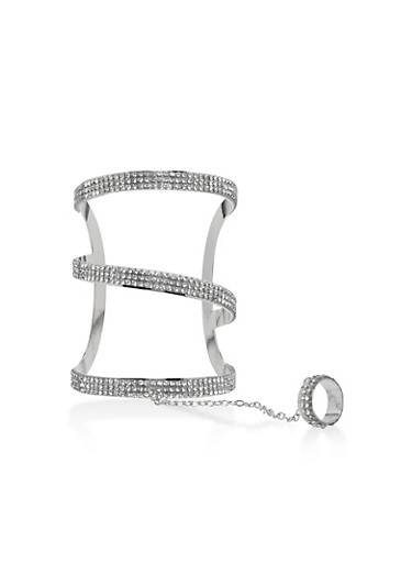 Rhinestone Ring Hand Chain Bracelet,SILVER,large