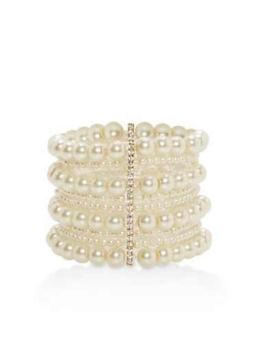 Multi Layer Faux Pearl Stretch Bracelet,IVORY,large
