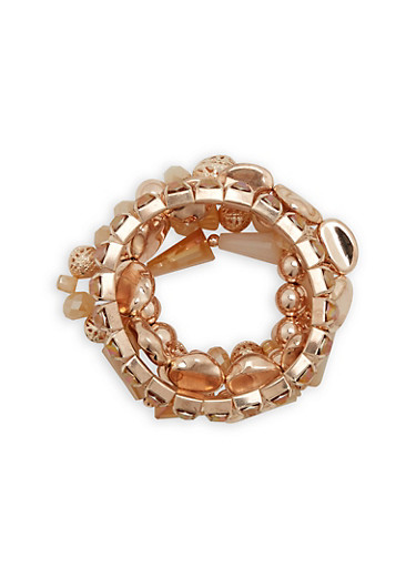 Set of 5 Metallic Beaded Bracelets,ROSE,large