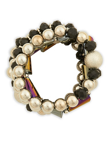 Beaded Metallic Bracelets,BLACK,large