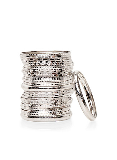 Plus Size Set of 30 Textural Bangles,SILVER,large