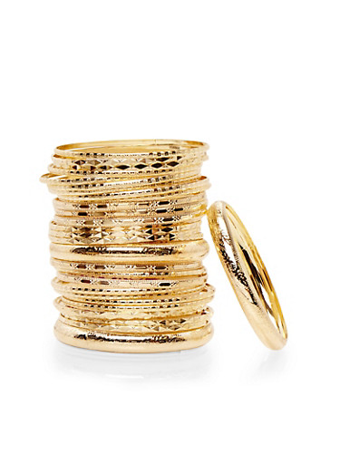 Plus Size Set of 30 Textural Bangles,GOLD,large