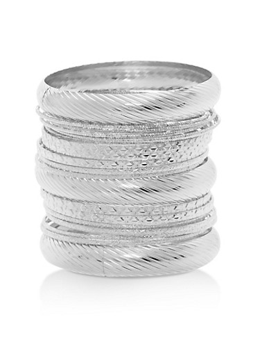 Plus Size Set of Multi Textured Bangles,SILVER,large