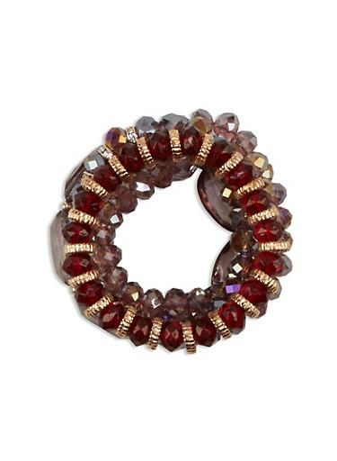 Set of 5 Beaded Stretch Bracelets,ROSE,large