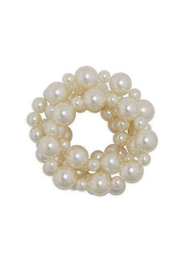 Set of 5 Faux Pearl Stretch Bracelets,IVORY,large