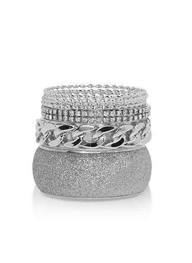Plus Size Glitter Chain Rhinestone Bracelets,SILVER,large