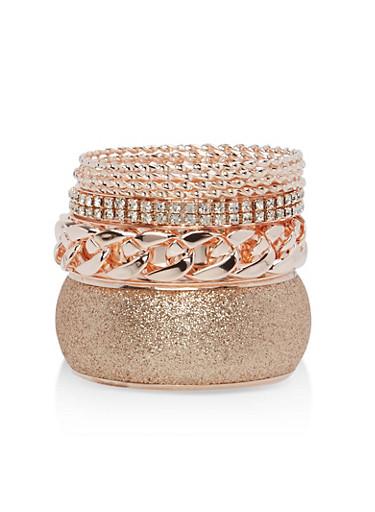 Plus Size Glitter Chain Rhinestone Bracelets,ROSE,large