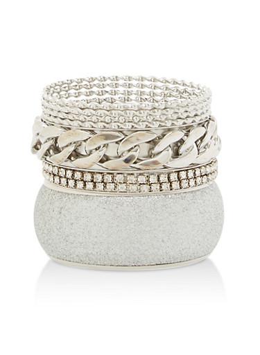 Glitter Chain Rhinestone Bracelets,SILVER,large