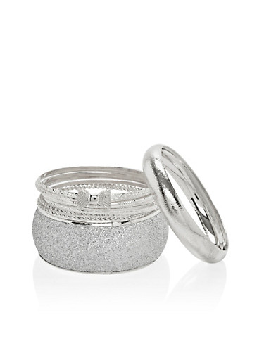 Plus Size Set of 9 Bangles,SILVER,large