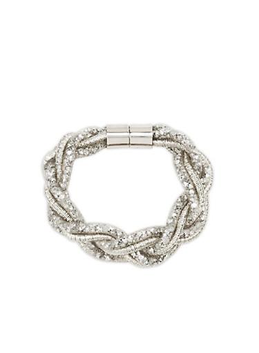 Mesh Braided Rhinestone Bracelet,SILVER,large