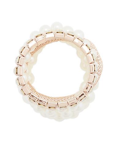 Set of 5 Assorted Stretch Bracelets,ROSE,large