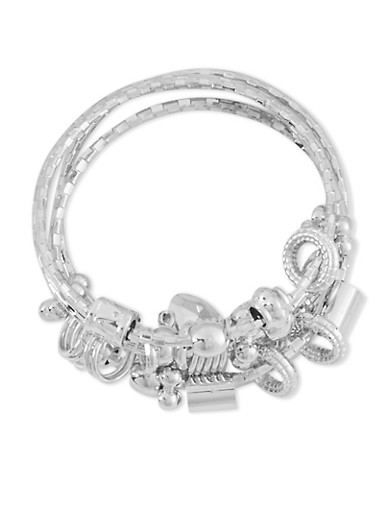 Set of 4 Assorted Charm Bangles,SILVER,large