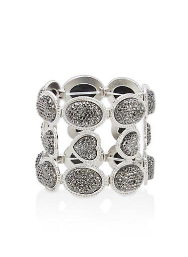 Paved Rhinestone Stretch Bracelet,SILVER,large