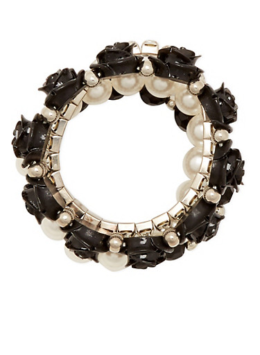 Set of 4 Stretch Bracelets with Crystal Accents,BLACK,large