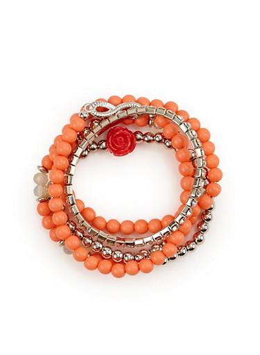Set of 5 Stretch Bracelets,PEACH,large