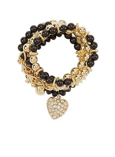 Set of 5 Beaded Rhinestone Charm Bracelets,BLACK,large