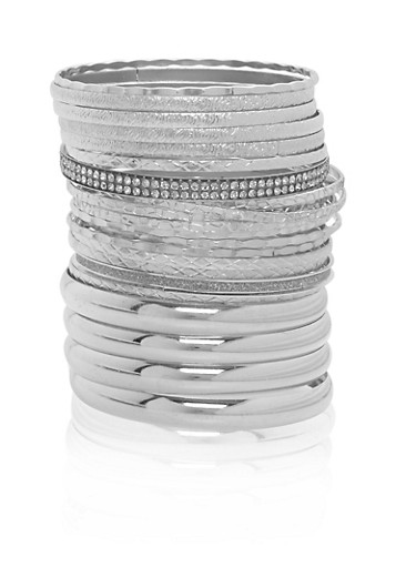 Plus Size Multi Textured Bangles,SILVER,large