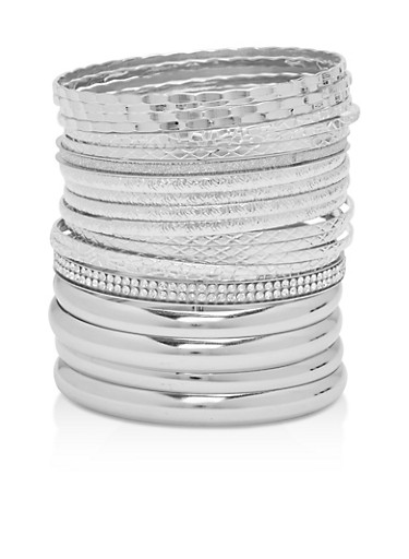 Plus Size Textured Bangles Set,SILVER,large