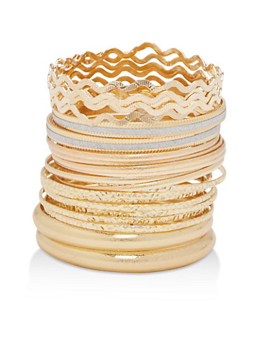 Plus Size Textured Bangles Set,GOLD,large