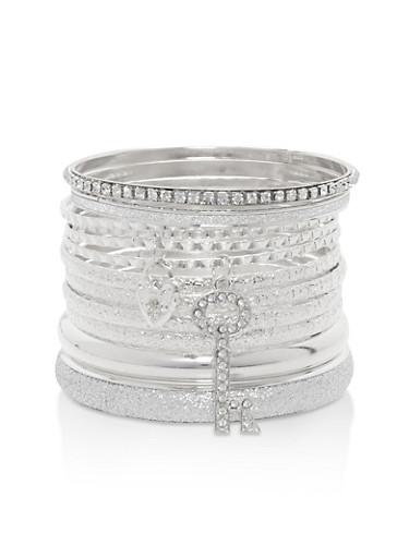 Plus Size Glitter Rhinestone Charm Bracelets,SILVER,large