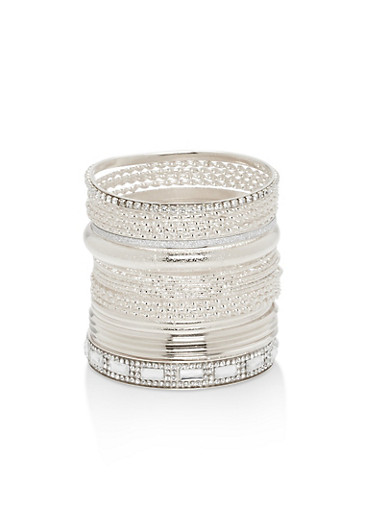 Plus Size Textured Rhinestone Bangles,SILVER,large