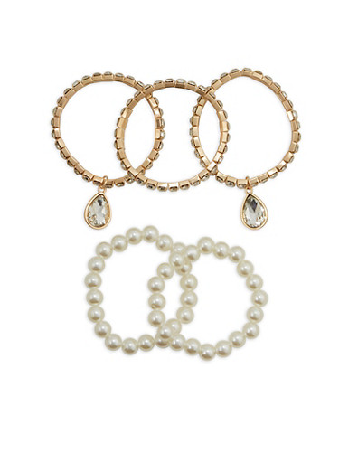 Set of 5 Rhinestone and Faux Pearl Stretch Bracelets,GOLD,large
