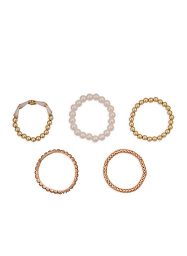 Faux Pearl Metallic Mesh Stretch Bracelets,ROSE,large
