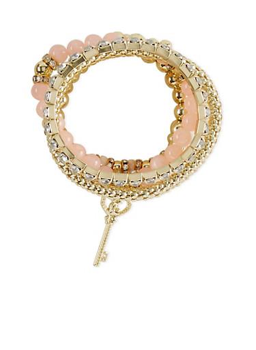 Set of 5 Stretch Beaded Charm Bracelets,BLUSH,large