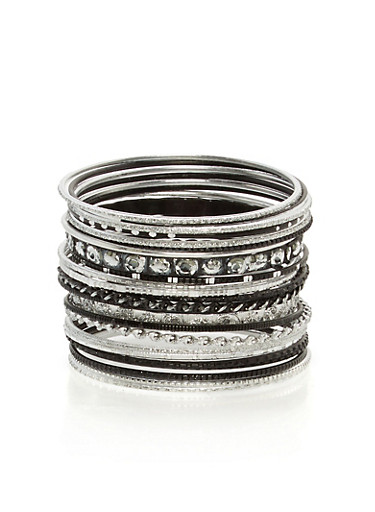Plus Size Set of Bangles,SILVER,large