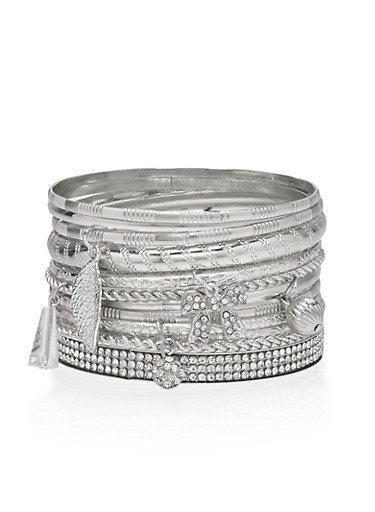 Rhinestone and Multi Textured Charm Bangles Set,SILVER,large