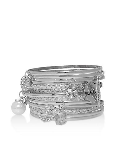 Faux Pearl Rhinestone Bracelets,SILVER,large