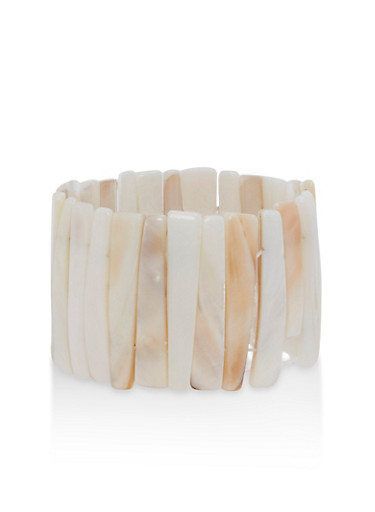 Shell Stretch Bracelet,IVORY,large