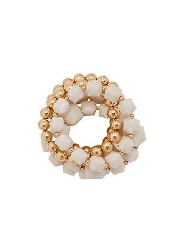 Set of 5 Stretch Beaded Bracelets,WHITE,large