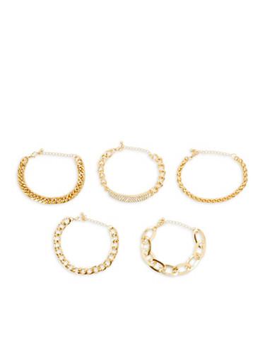 Rhinestone Chain Bracelets,GOLD,large